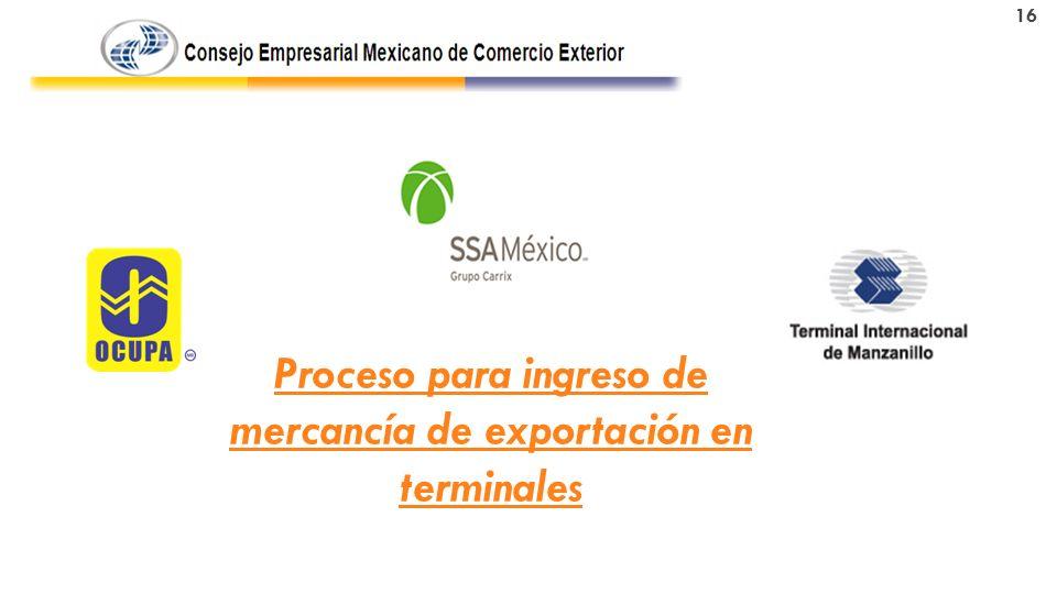 Proceso para ingreso de mercancía de exportación en terminales