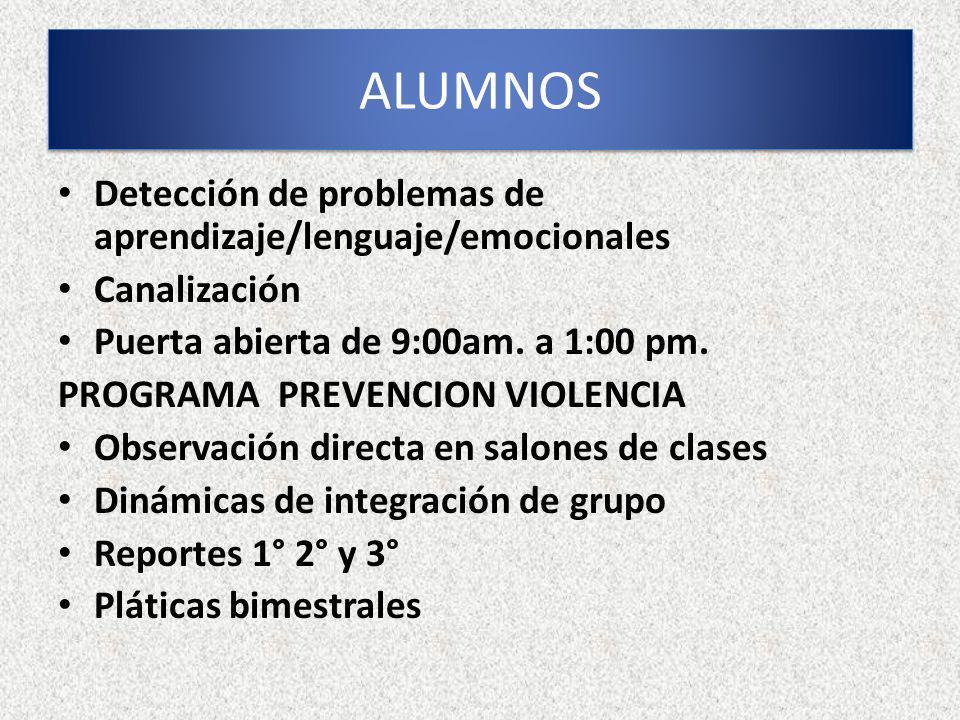 ALUMNOS Detección de problemas de aprendizaje/lenguaje/emocionales
