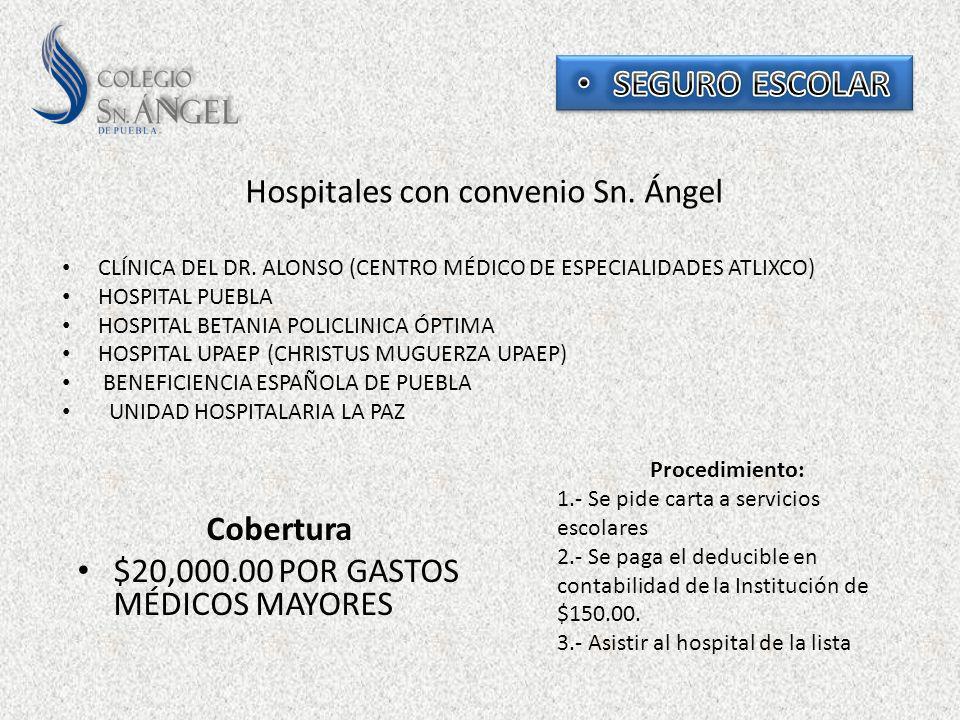 Hospitales con convenio Sn. Ángel