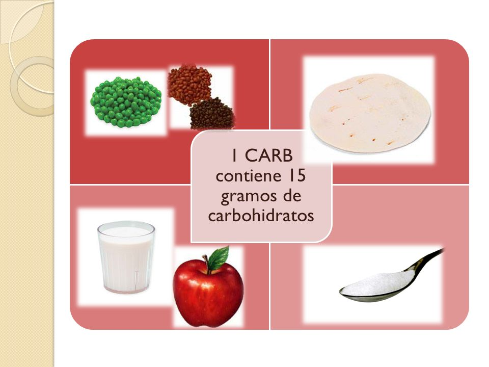 1 CARB contiene 15 gramos de carbohidratos