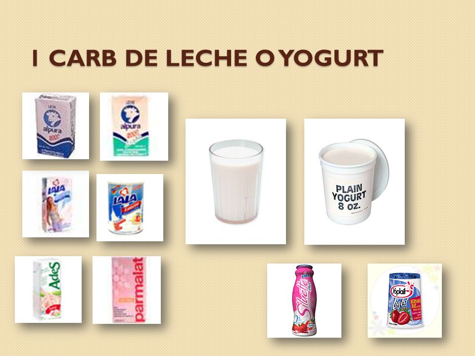 1 carb de leche o yogurt