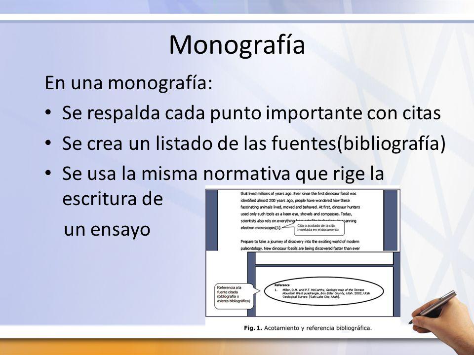 Monografía En una monografía: