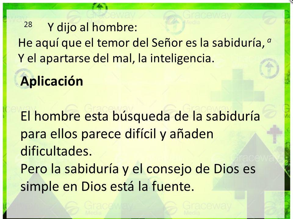 28 Y dijo al hombre: He aquí que el temor del Señor es la sabiduría, a Y el apartarse del mal, la inteligencia.