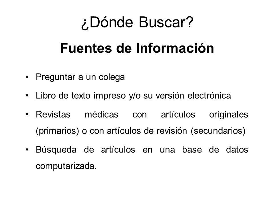 ¿Dónde Buscar Fuentes de Información