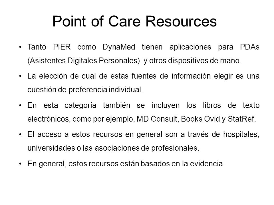 Point of Care Resources