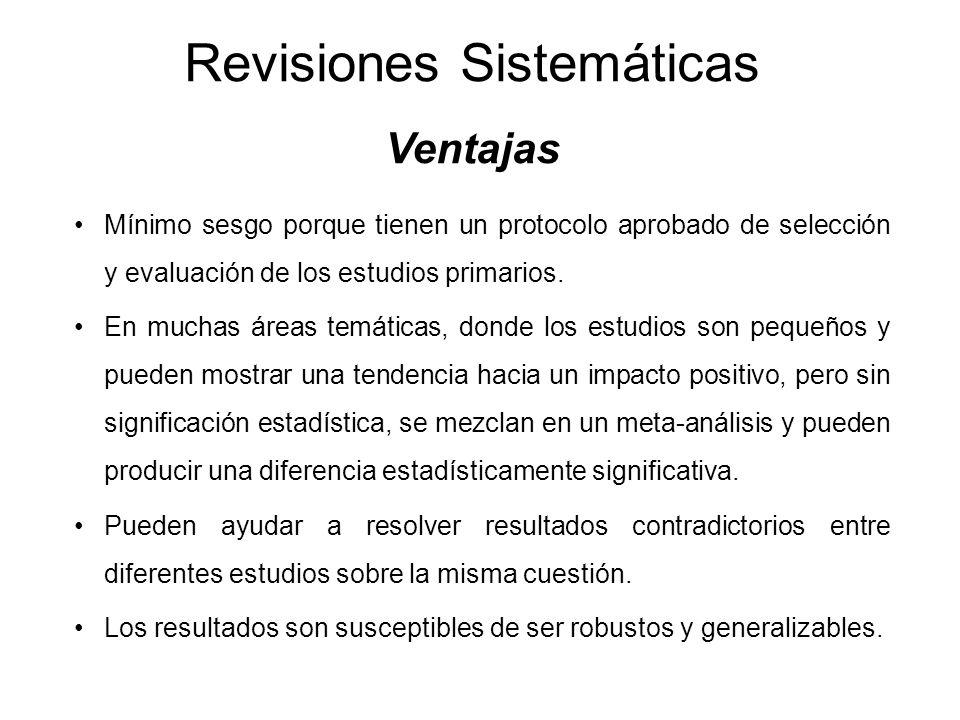 Revisiones Sistemáticas Ventajas