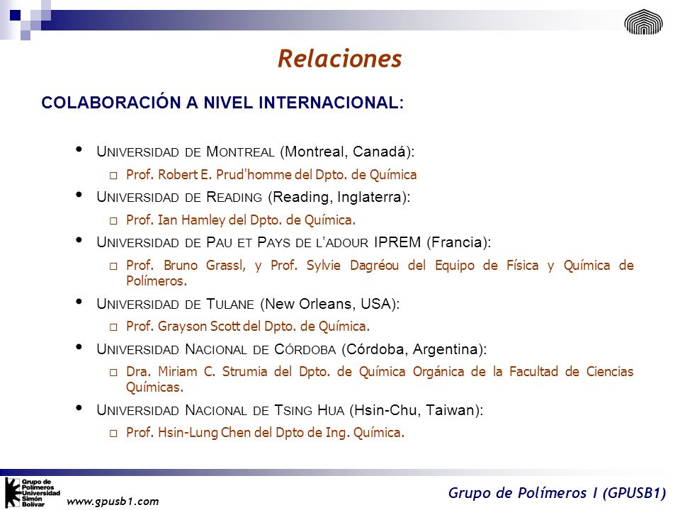 Relaciones Colaboración a nivel INTERnacional: