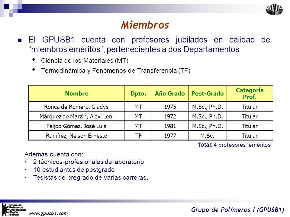 Miembros El GPUSB1 cuenta con profesores jubilados en calidad de miembros eméritos , pertenecientes a dos Departamentos.