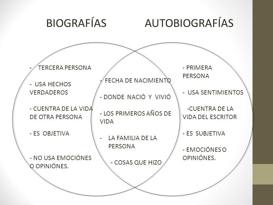 BIOGRAFÍAS AUTOBIOGRAFÍAS