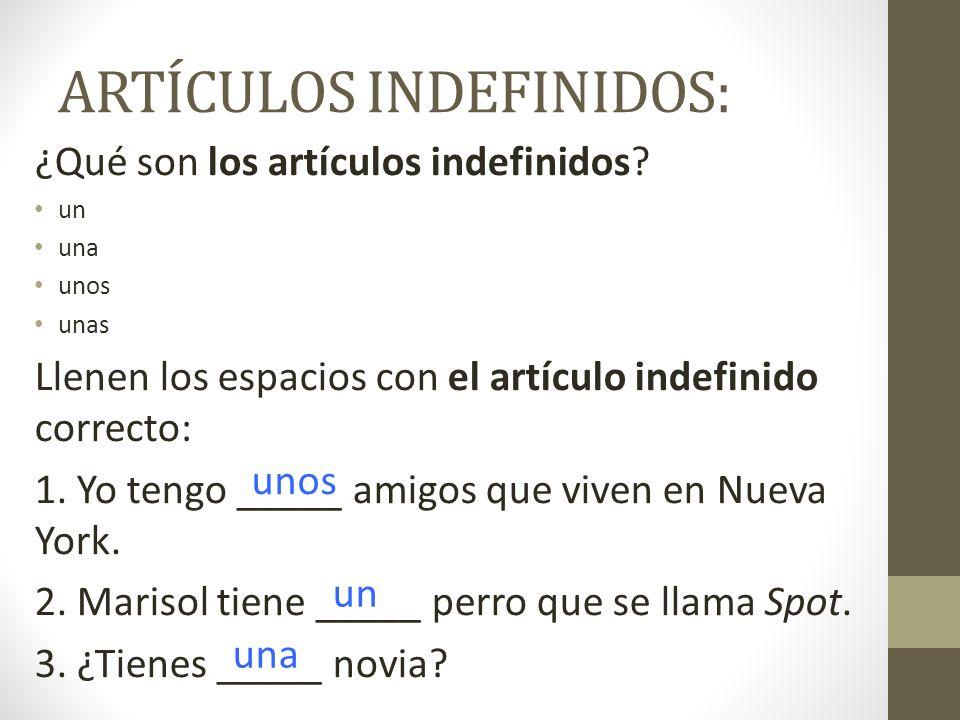 ARTÍCULOS INDEFINIDOS: