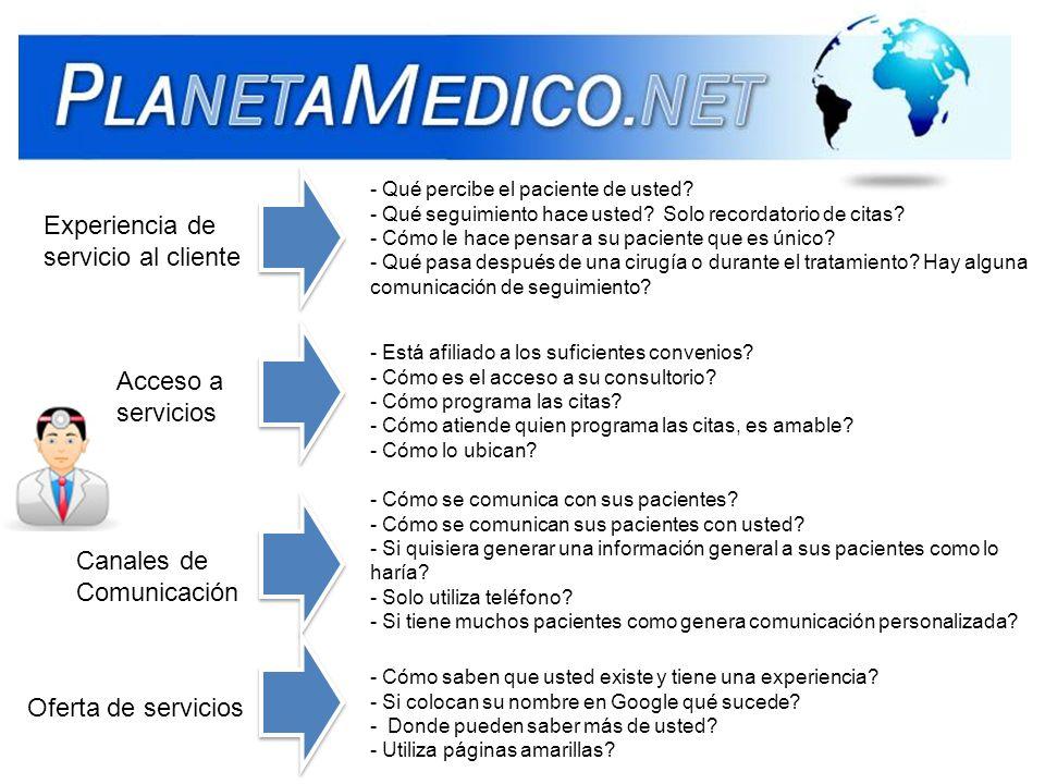 Experiencia de servicio al cliente Acceso a servicios Canales de