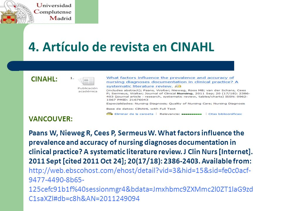 4. Artículo de revista en CINAHL