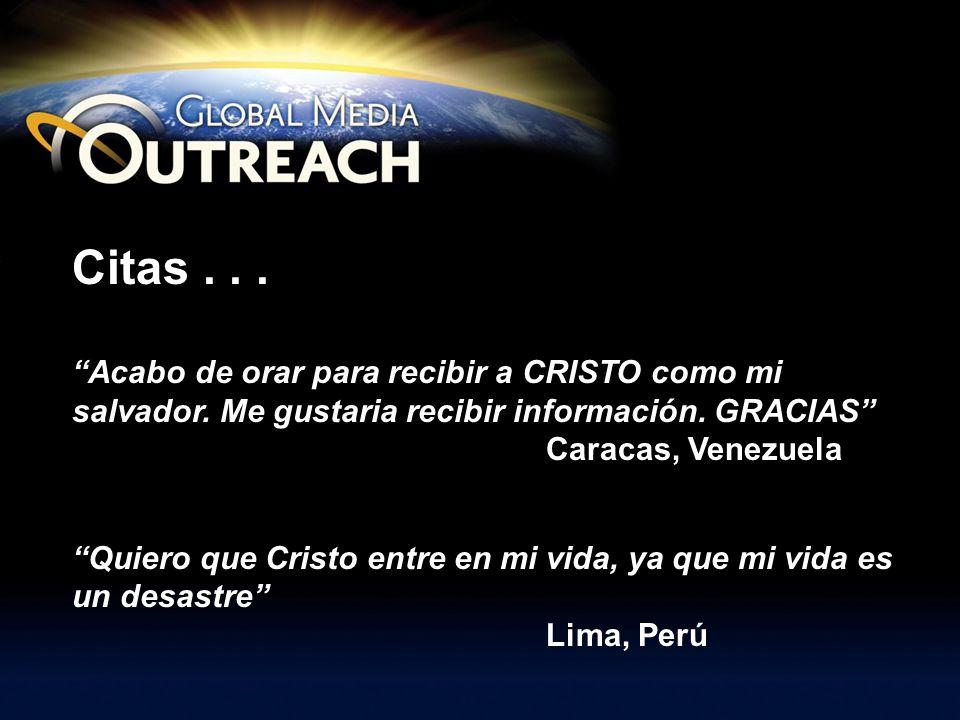 Slide 5 of 7 Citas . . . Acabo de orar para recibir a CRISTO como mi salvador. Me gustaria recibir información. GRACIAS Caracas, Venezuela.