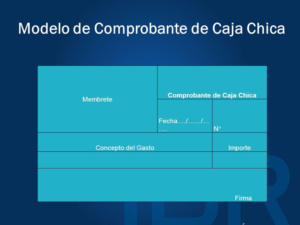 Modelo de Comprobante de Caja Chica