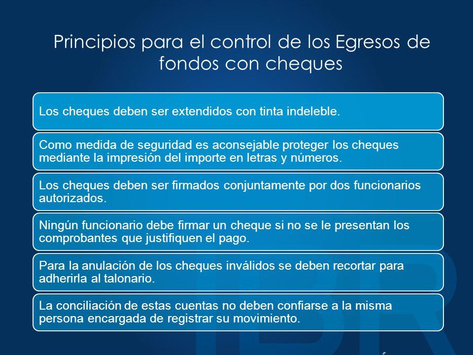 Principios para el control de los Egresos de fondos con cheques