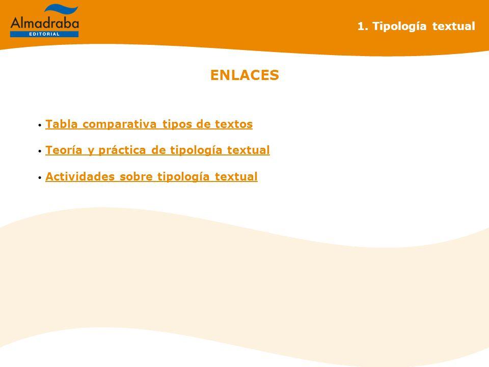ENLACES 1. Tipología textual Tabla comparativa tipos de textos