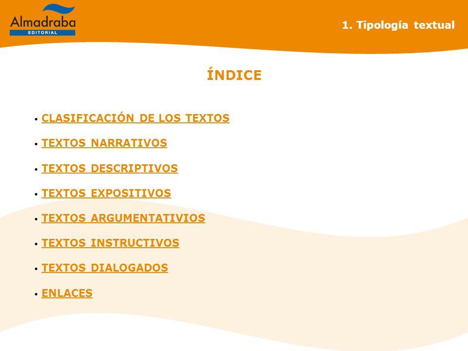 ÍNDICE 1. Tipología textual CLASIFICACIÓN DE LOS TEXTOS