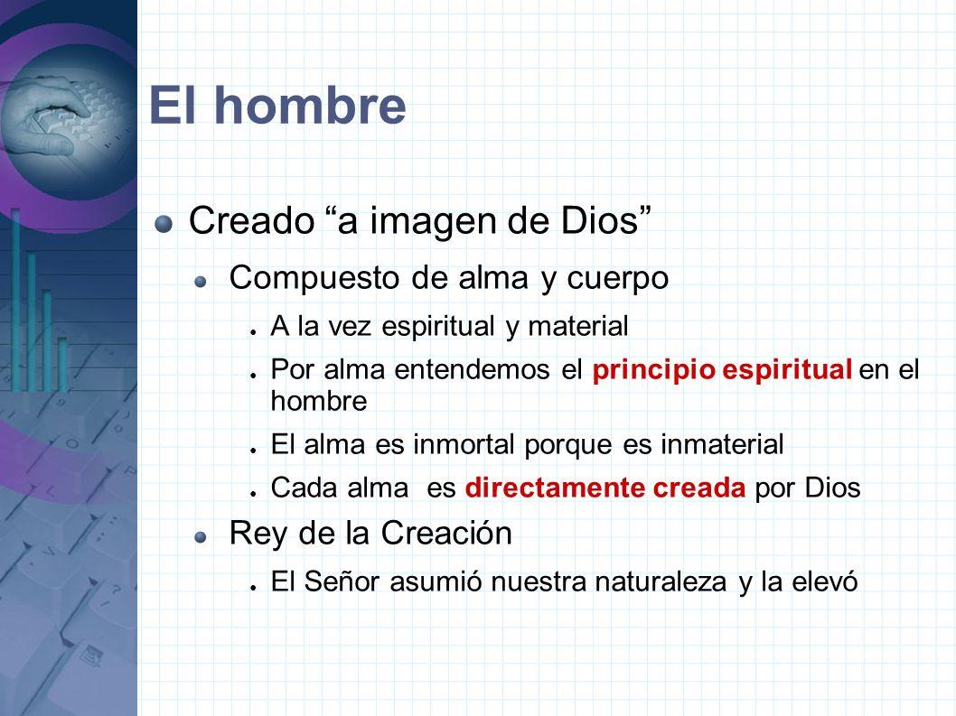 El hombre Creado a imagen de Dios Compuesto de alma y cuerpo