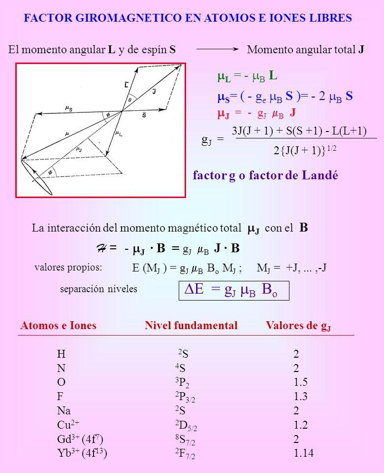 FACTOR GIROMAGNETICO EN ATOMOS E IONES LIBRES