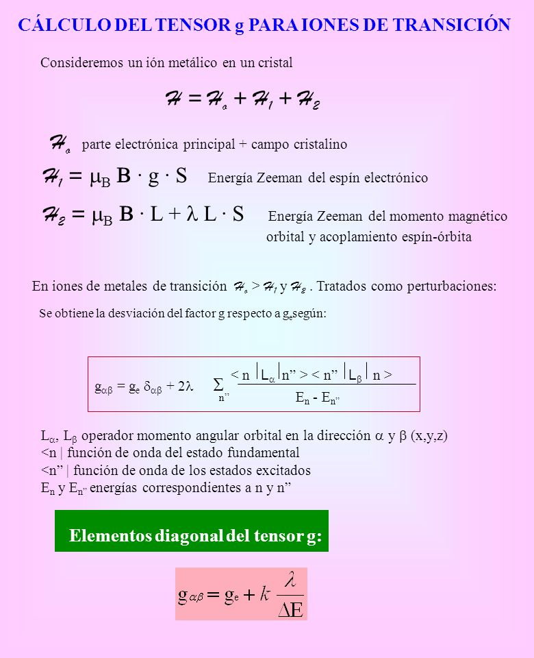 Elementos diagonal del tensor g: