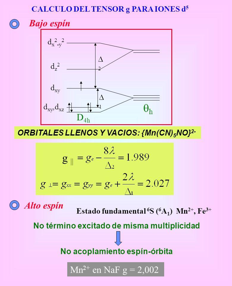qh g || Bajo espín D4h Alto espín Mn2+ en NaF g = 2,002