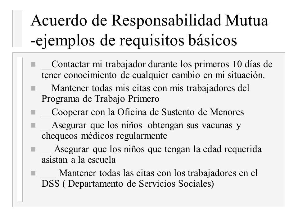 Acuerdo de Responsabilidad Mutua -ejemplos de requisitos básicos