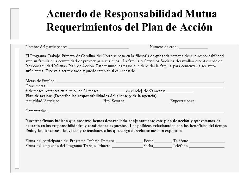 Acuerdo de Responsabilidad Mutua Requerimientos del Plan de Acción