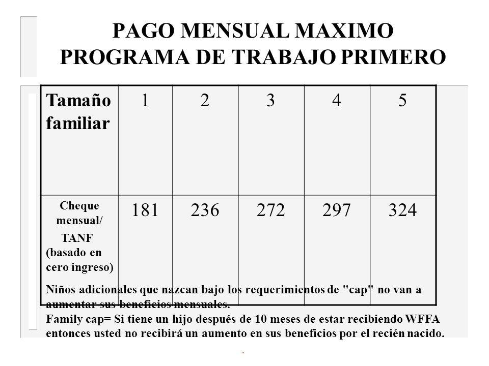 PAGO MENSUAL MAXIMO PROGRAMA DE TRABAJO PRIMERO