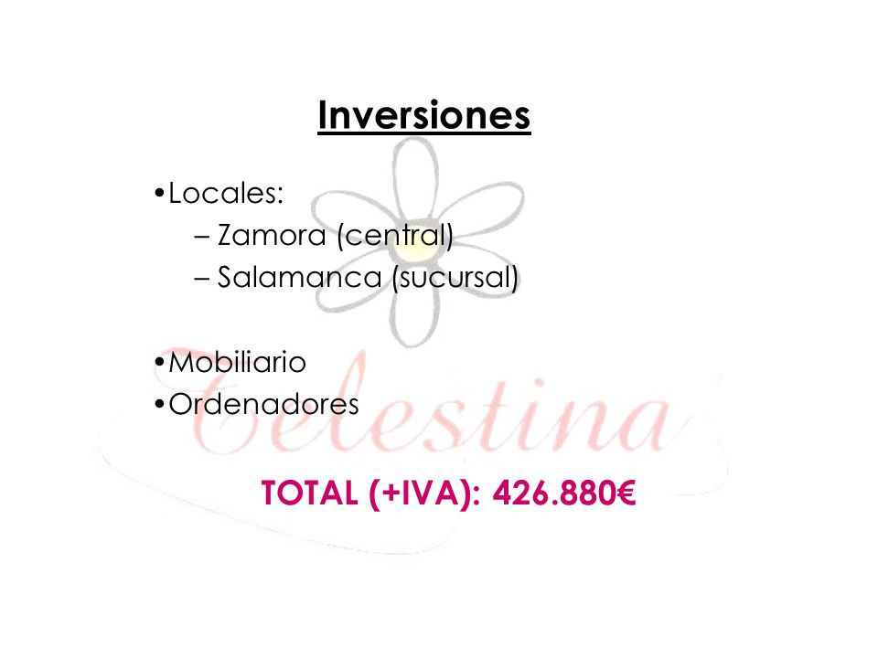 Inversiones TOTAL (+IVA): 426.880€ Locales: Zamora (central)