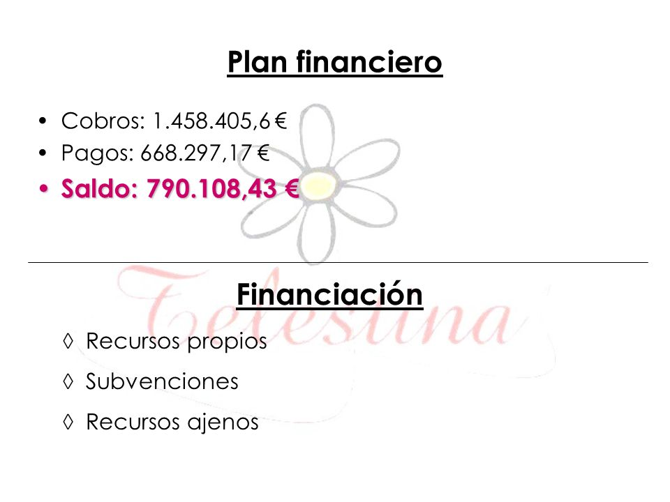Financiación Plan financiero Saldo: 790.108,43 € Cobros: 1.458.405,6 €