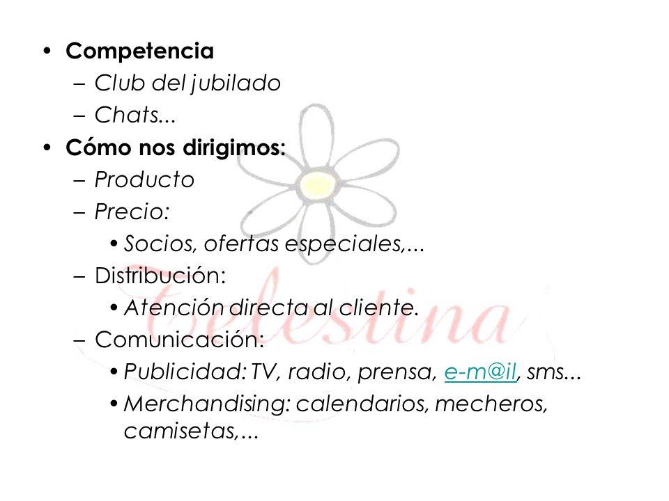 Competencia Club del jubilado. Chats... Cómo nos dirigimos: Producto. Precio: Socios, ofertas especiales,...