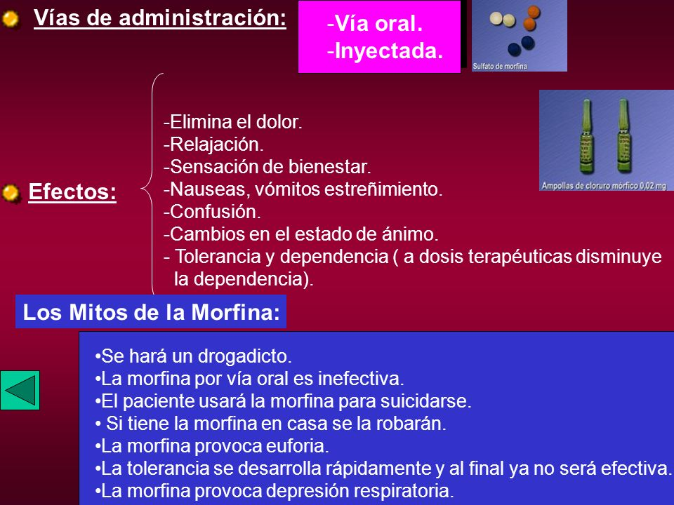 Vías de administración: Vía oral. Inyectada.