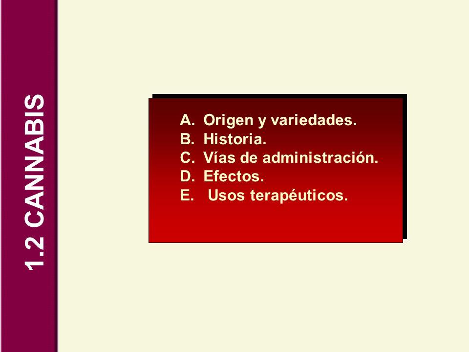 1.2 CANNABIS Origen y variedades. Historia. Vías de administración.