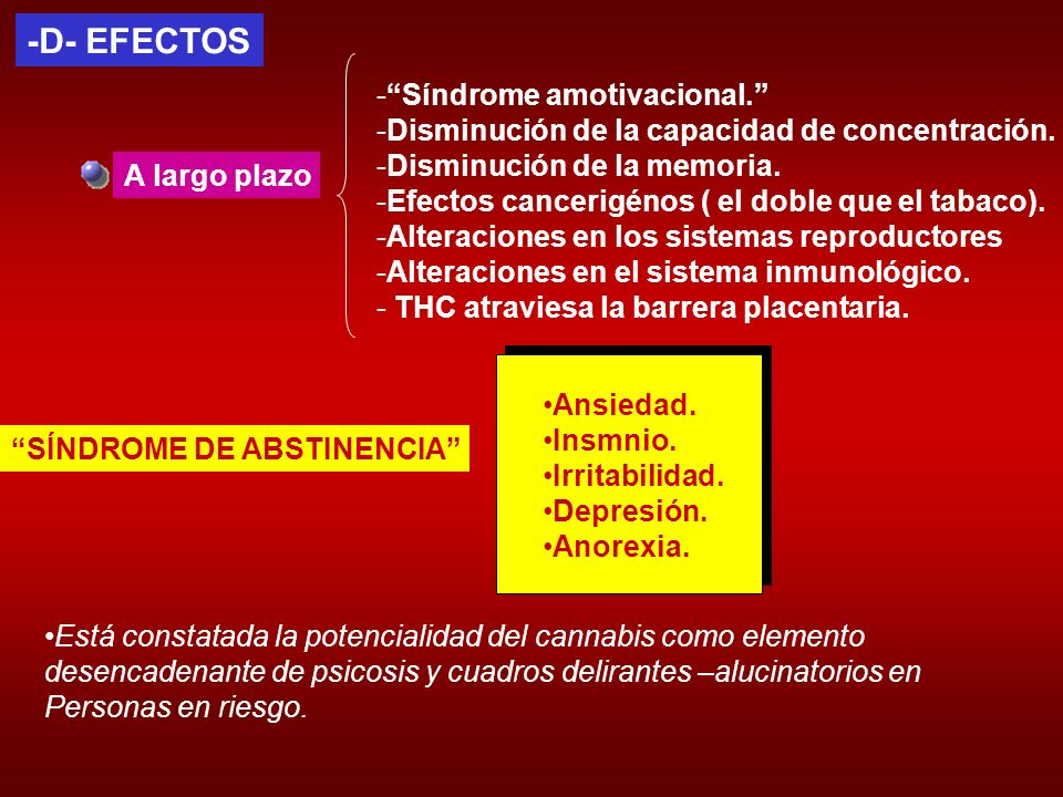 -D- EFECTOS Síndrome amotivacional.