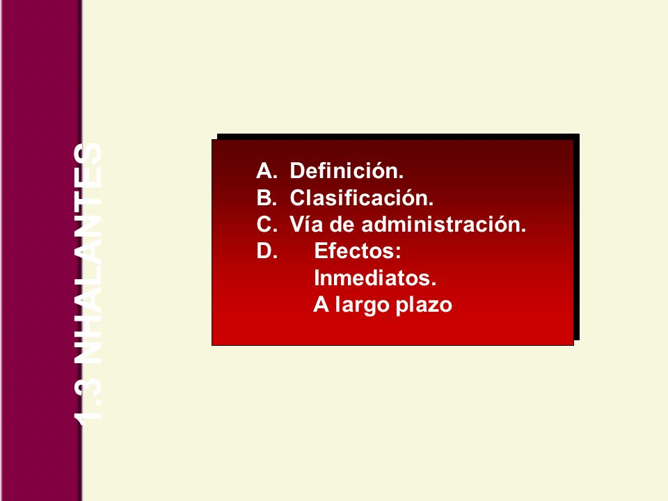 1.3 NHALANTES Definición. Clasificación. Vía de administración.