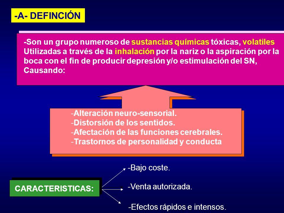 -A- DEFINCIÓN -Son un grupo numeroso de sustancias químicas tóxicas, volatiles.
