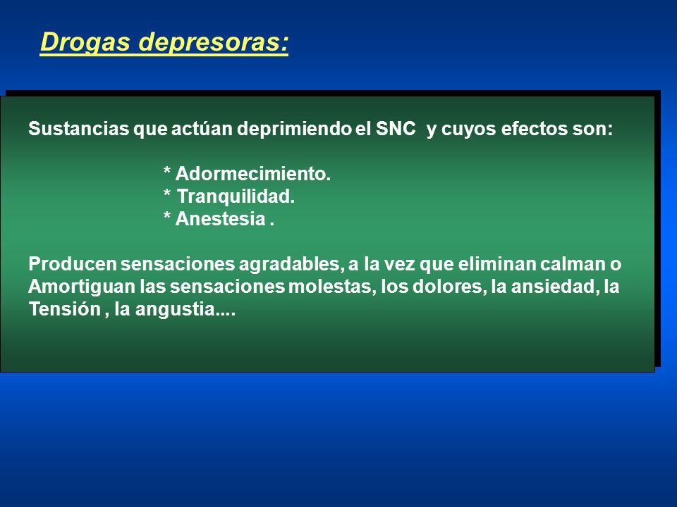 Drogas depresoras: Sustancias que actúan deprimiendo el SNC y cuyos efectos son: * Adormecimiento.