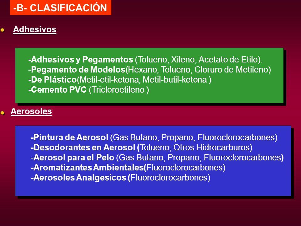 -B- CLASIFICACIÓN Adhesivos