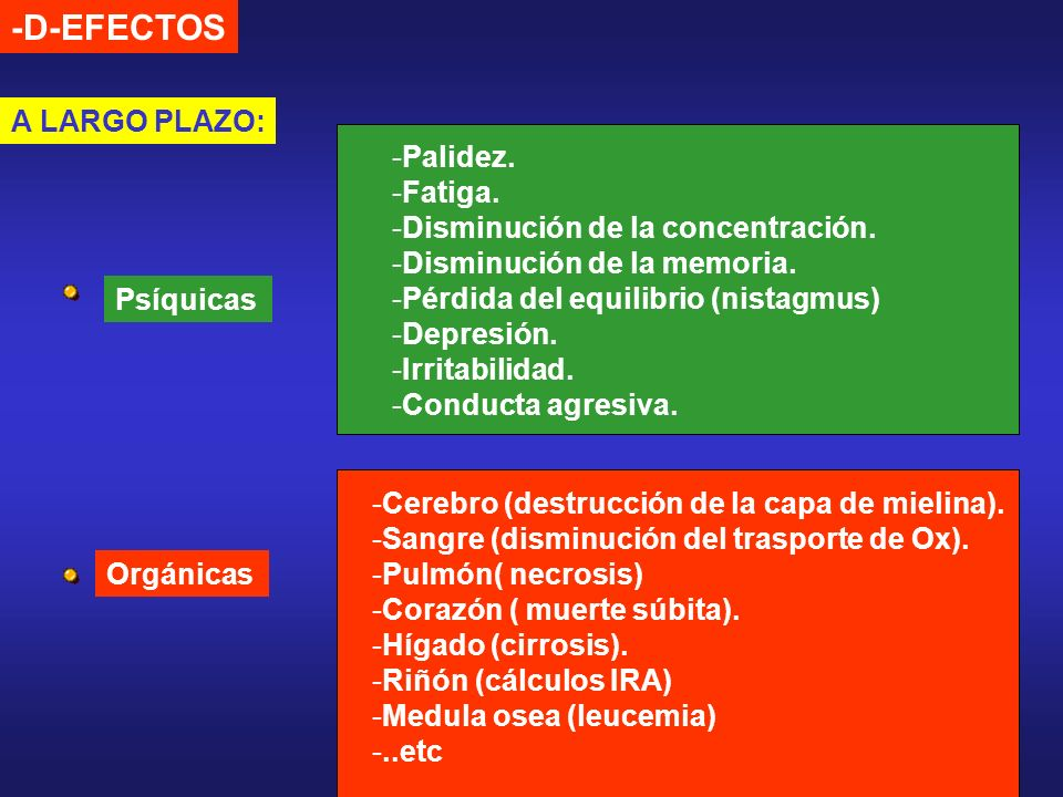 -D-EFECTOS A LARGO PLAZO: Palidez. Fatiga.