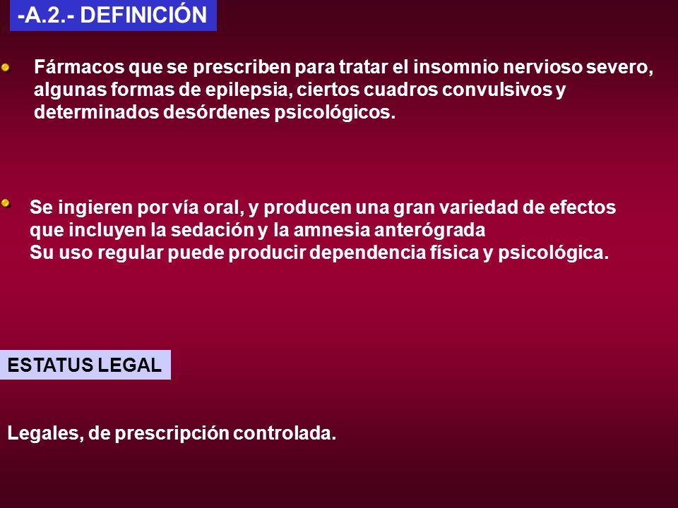 -A.2.- DEFINICIÓN Fármacos que se prescriben para tratar el insomnio nervioso severo, algunas formas de epilepsia, ciertos cuadros convulsivos y.