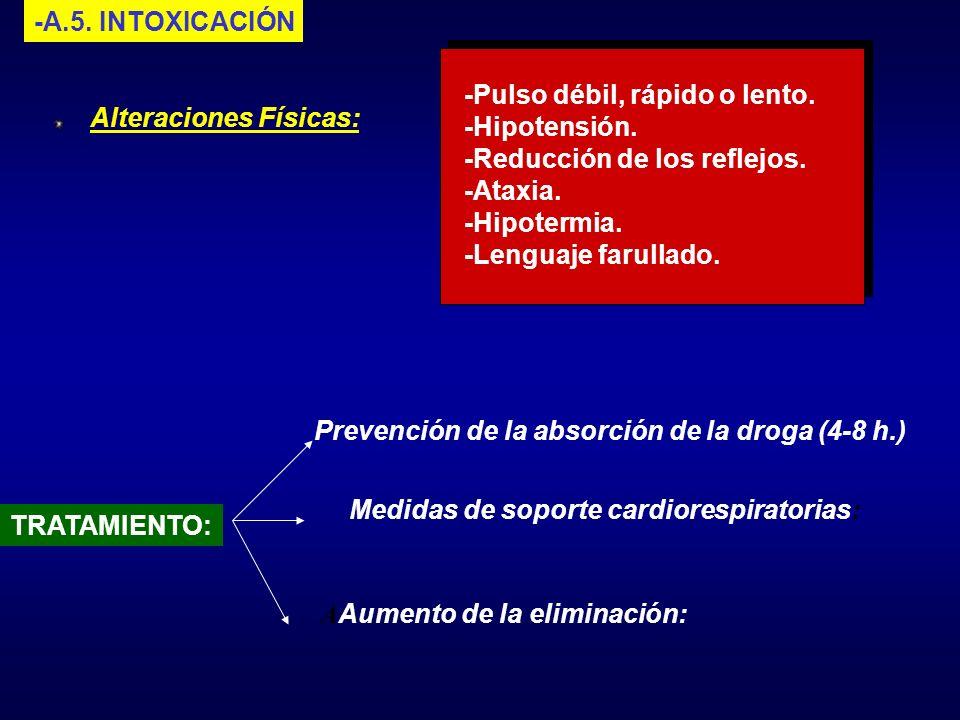 -A.5. INTOXICACIÓN-Pulso débil, rápido o lento. -Hipotensión. -Reducción de los reflejos. -Ataxia. -Hipotermia.