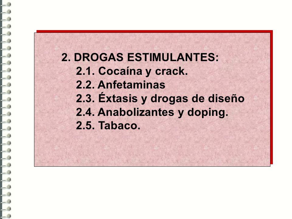 2. DROGAS ESTIMULANTES:2.1. Cocaína y crack. 2.2. Anfetaminas. 2.3. Éxtasis y drogas de diseño. 2.4. Anabolizantes y doping.