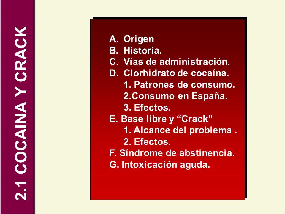 2.1 COCAINA Y CRACK Origen Historia. Vías de administración.