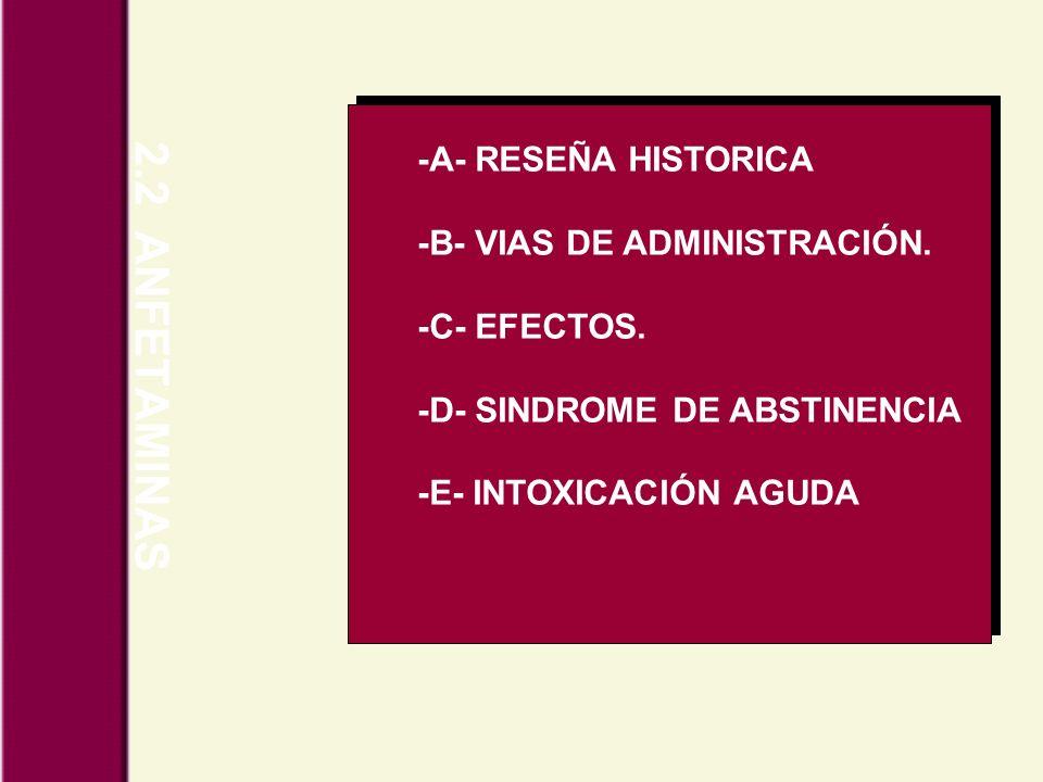 2.2 ANFETAMINAS -A- RESEÑA HISTORICA -B- VIAS DE ADMINISTRACIÓN.