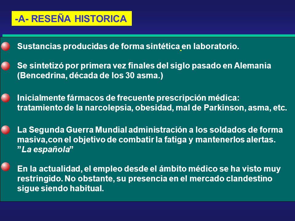 -A- RESEÑA HISTORICA Sustancias producidas de forma sintética en laboratorio. Se sintetizó por primera vez finales del siglo pasado en Alemania.