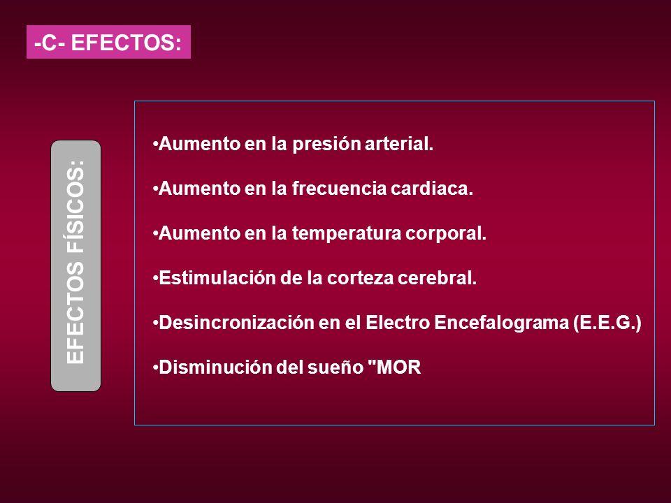 -C- EFECTOS: EFECTOS FÍSICOS: Aumento en la presión arterial.