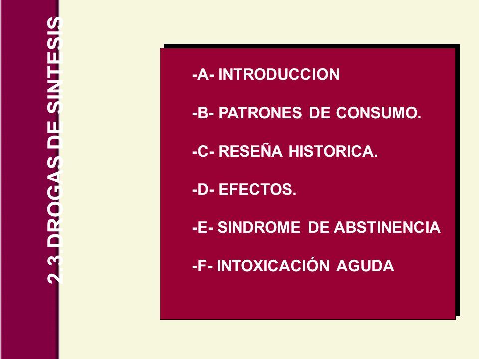 2.3.DROGAS DE SINTESIS -A- INTRODUCCION -B- PATRONES DE CONSUMO.