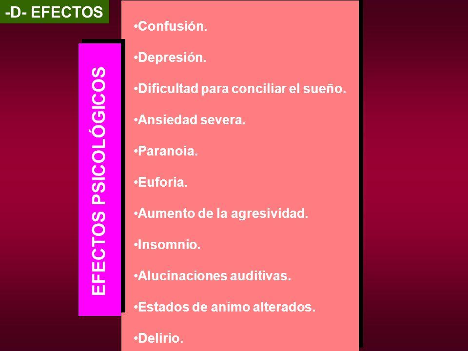 EFECTOS PSICOLÓGICOS -D- EFECTOS Confusión. Depresión.