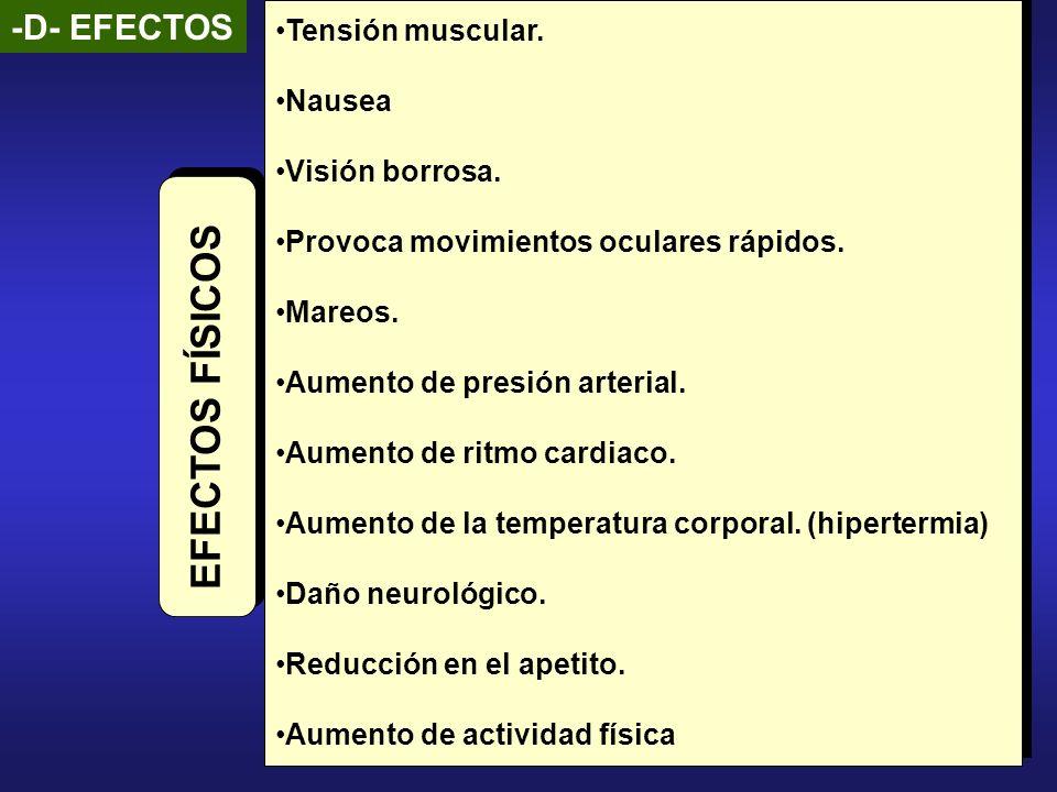 EFECTOS FÍSICOS -D- EFECTOS Tensión muscular. Nausea Visión borrosa.