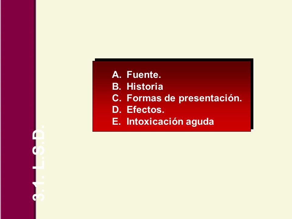 3.1. L.S.D. Fuente. Historia Formas de presentación. Efectos.